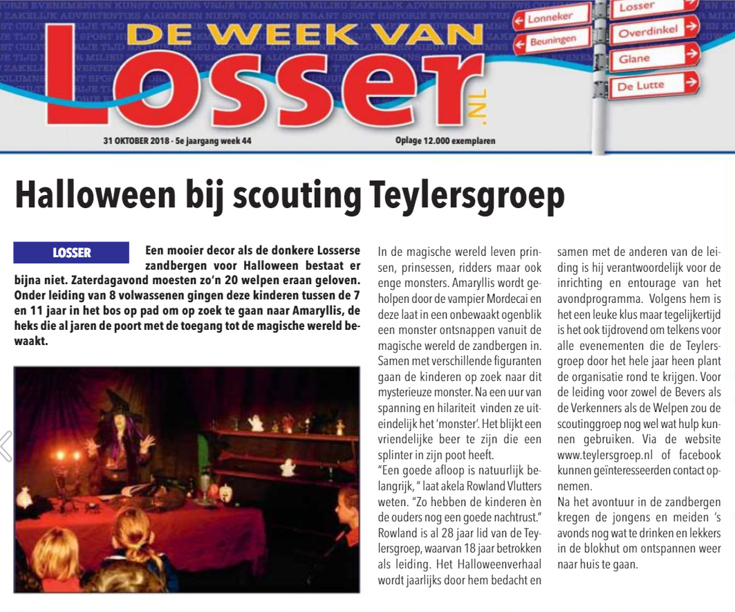 Halloween 2018 Krantenartikel in Week van Losser