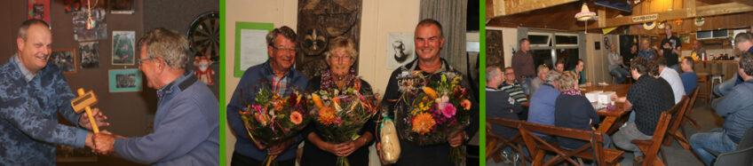 Bestuursleden Frans, Grietje en Hugo geven stokje door