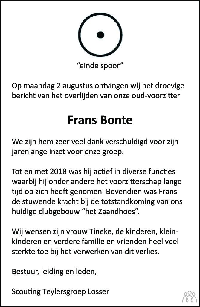 Frans Bonte overlijdensbericht