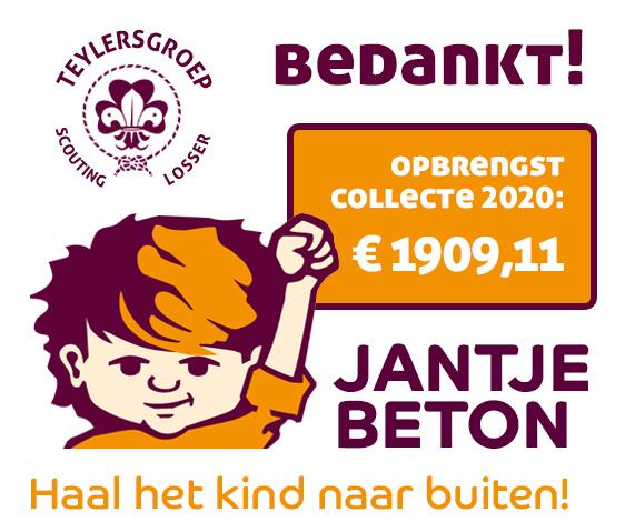 Opbrengst Jantje Beton Collectie 2020 door Scouting Losser