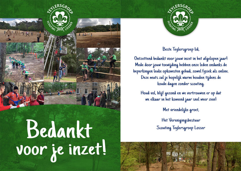 Kaart bedankje vrijwilligers Scouting Losser