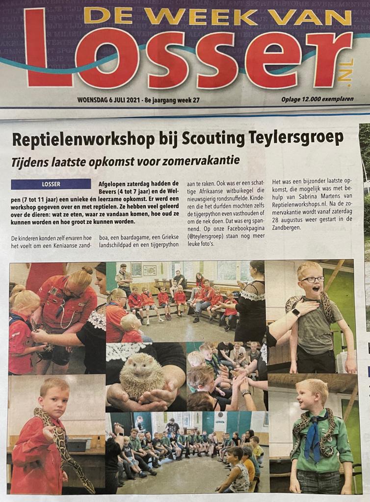Reptielenworkshop bij Scouting Teylersgroep - artikel Week van Losser