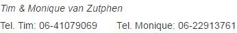 Tel nummers Van Zutphen