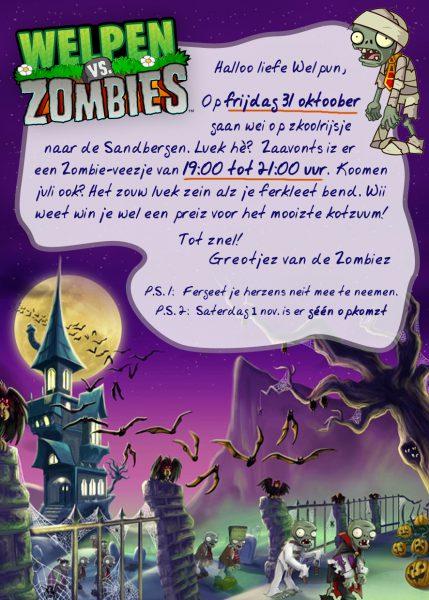 Welpen Uitnodiging Zombies Halloween 2014