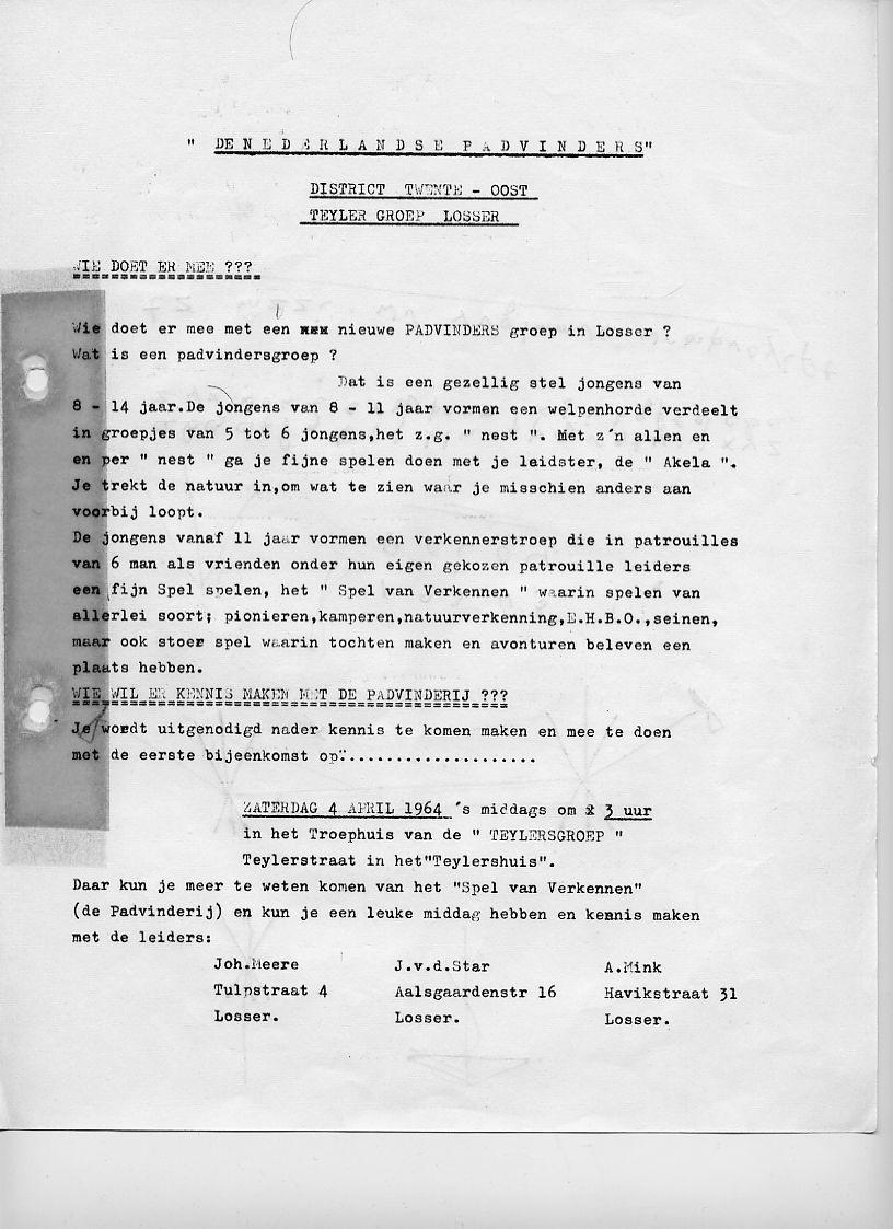 Uitnodiging nieuwe scoutinggroep de Teylersgroep 1964
